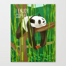 Panda Enjoys Coffee Canvas Print