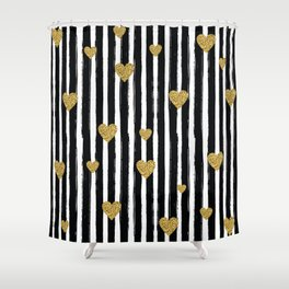 Gold Glitter Hearts Black and White Stripes Shower Curtain