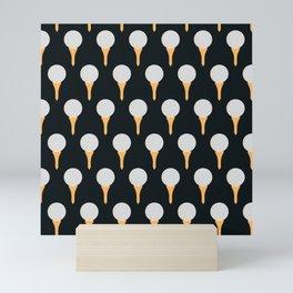 Golf Ball & Tee Pattern (Black) Mini Art Print