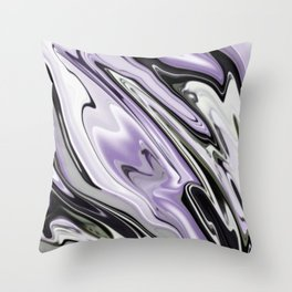 Ultra Violet Silver and Lilac Abstract Marble Vector Throw Pillow