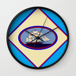 A Nautical Scene with Clipper Ship with Sky Blue Background Wall Clock