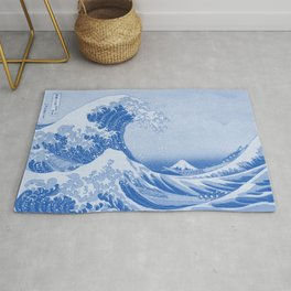 Cerulean Blue Porcelain Glaze Japanese Great Wave Rug