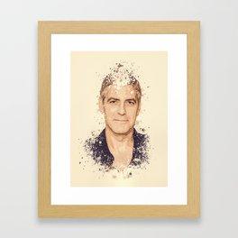 George Clooney splatter painting Framed Art Print