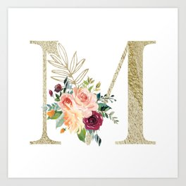 M Monogram Gold Foil Initial with Watercolor Flowers Art Print
