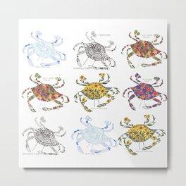 Blue Crab Maryland Art State Symbols Mixed Metal Print