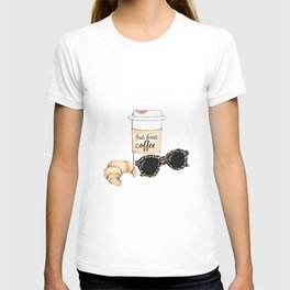 Coffee and croissant T-shirt
