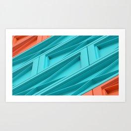 Construct Blue & Orange Art Print