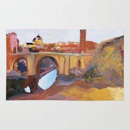 Toledo, Impressionist landscape, Spanish town, bridge Rug