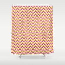 Bargello waves golden yellow pink Shower Curtain