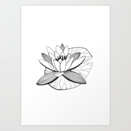 Black and white water lily Art Print