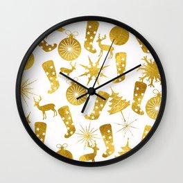 Gold Christmas 06 Wall Clock