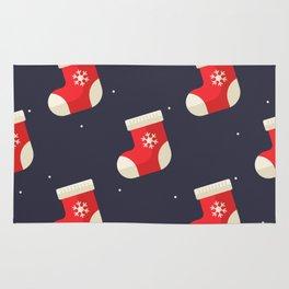 Red Christmas Stocking Pattern Rug
