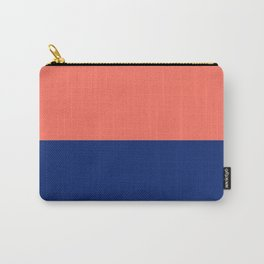Living Coral and Cobalt Navy Stripe Carry-All Pouch