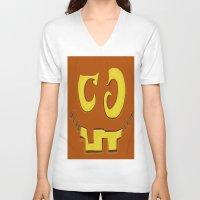 pumpkin V-neck T-shirts featuring Pumpkin by ItalianRicanArt