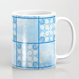 Blue and White Checkerboard Pattern Coffee Mug