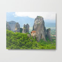 Christian Orthodox monastery of Meteora, Greece Metal Print