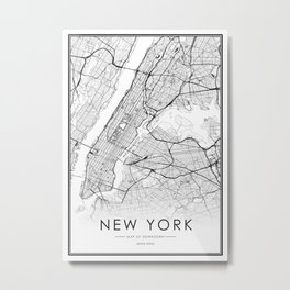 New York City Map United States White and Black Metal Print