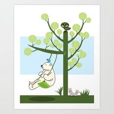 Polar bear play a swing Art Print