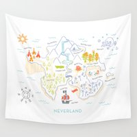 neverland Wall Tapestries featuring Neverland Map Color by Merlin