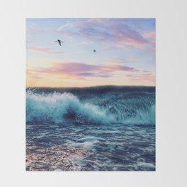 Waves Crashing At Sunset Throw Blanket