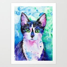 Black and White Tuxedo Cat Art Print