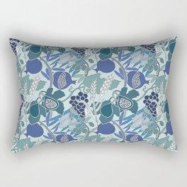 Seven Species Botanical Fruit and Grain in Blue Tones Rectangular Pillow