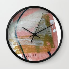 New Mexico: a pretty mixed media abstract in a variety of colors Wall Clock