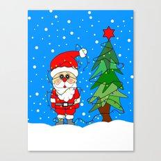 Santa And The Christmas Lights Canvas Print
