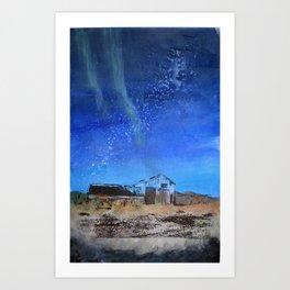 Farmhouse with Northern Lights Art Print