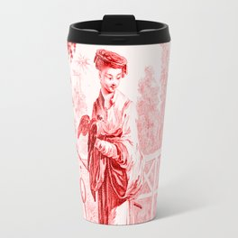 Chinoiserie Toile in Red Travel Mug