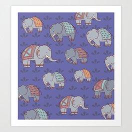 Elephants Pattern Art Print