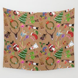 The Elements of Christmas (Pattern) (Light Brown) Wall Tapestry