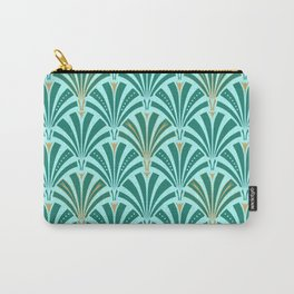 Art Deco Fan Pattern Turquoise on Aqua Carry-All Pouch