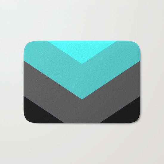 Aqua Gray Chevron Stripes Bath Mat