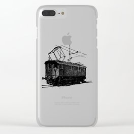 Old City Tram Carriage Detailed Illustration Clear iPhone Case