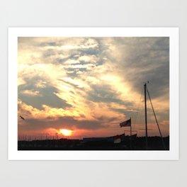 Sunset Over Port Art Print
