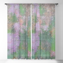 Embossed Impressionist pink flowers Sheer Curtain