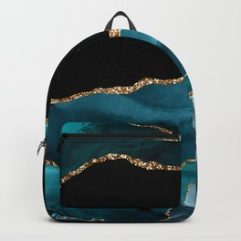 Dreams - Teal and Gold Metallic Agate  Backpack