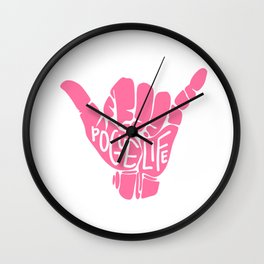 pogue life shaka hand in pink (obx) Wall Clock