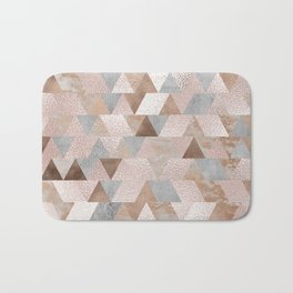 Copper and Blush Rose Gold Marble Triangles Bath Mat