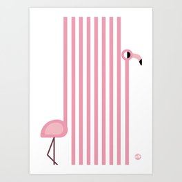 Striped Flamingo Art Print