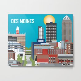 Des Moines, Iowa - Skyline Illustration by Loose Petals Metal Print