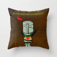 dark souls Throw Pillows featuring Dark souls by Kapika Arts