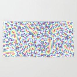 Rainbow and white swirls doodles Beach Towel