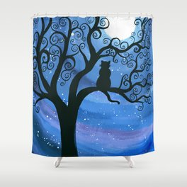 Meowing at the moon - moonlight cat painting Shower Curtain