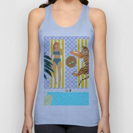 How To Vacay With Your Tiger #illustration Unisex Tank Top
