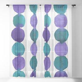 Watercolor abstract circles purple violet viridian Sheer Curtain