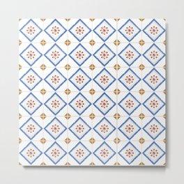 Blue Brown Squares Tiles Pattern Portuguese Patchwork Moss Rust Blue Tiles Home Decor Metal Print
