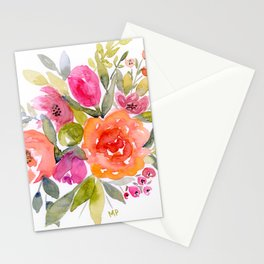 Orange and Pink bouquet Stationery Cards