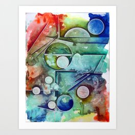 abstract circles and lines Art Print